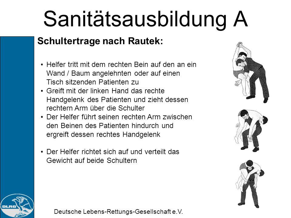 Sanitätsausbildung A Schultertrage nach Rautek: