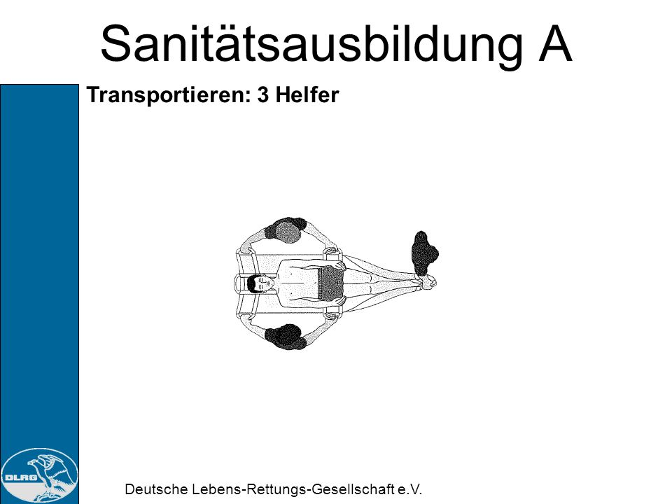 Sanitätsausbildung A Transportieren: 3 Helfer