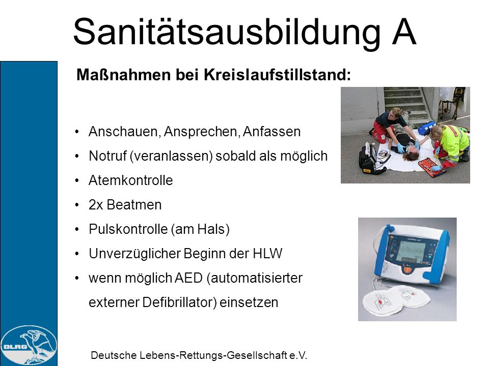 Sanitätsausbildung A Maßnahmen bei Kreislaufstillstand: