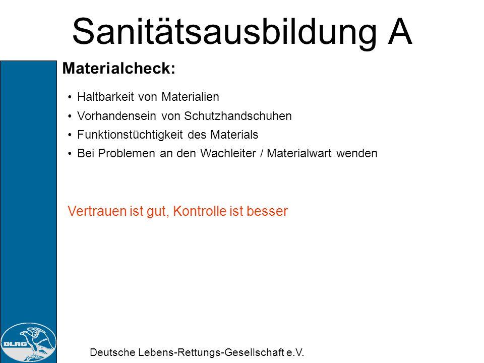 Sanitätsausbildung A Materialcheck: