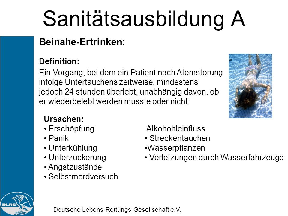 Sanitätsausbildung A Beinahe-Ertrinken: Definition: