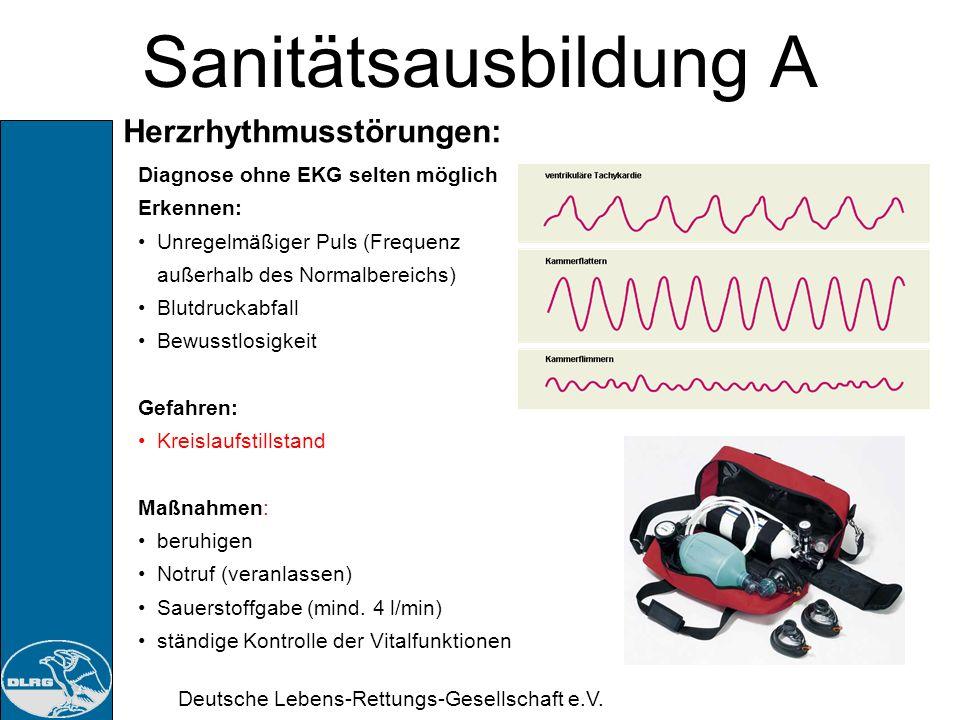 Sanitätsausbildung A Herzrhythmusstörungen: