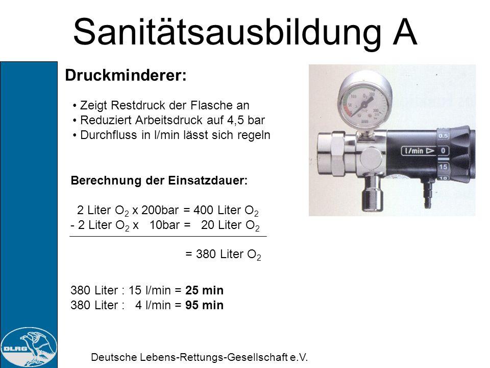 Sanitätsausbildung A Druckminderer: Zeigt Restdruck der Flasche an