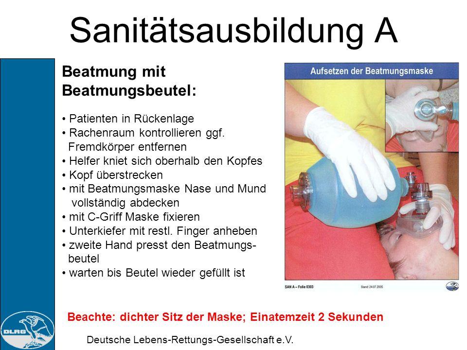 Sanitätsausbildung A Beatmung mit Beatmungsbeutel: