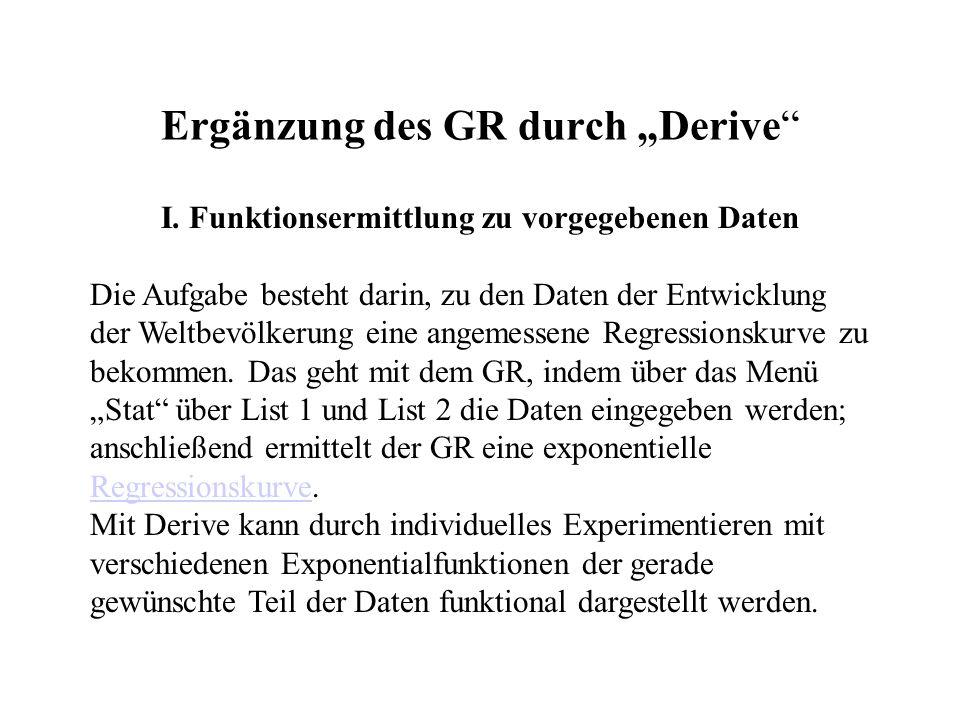 "Ergänzung des GR durch ""Derive"