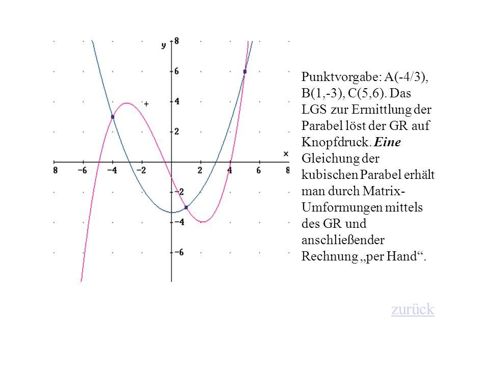 Punktvorgabe: A(-4/3), B(1,-3), C(5,6)