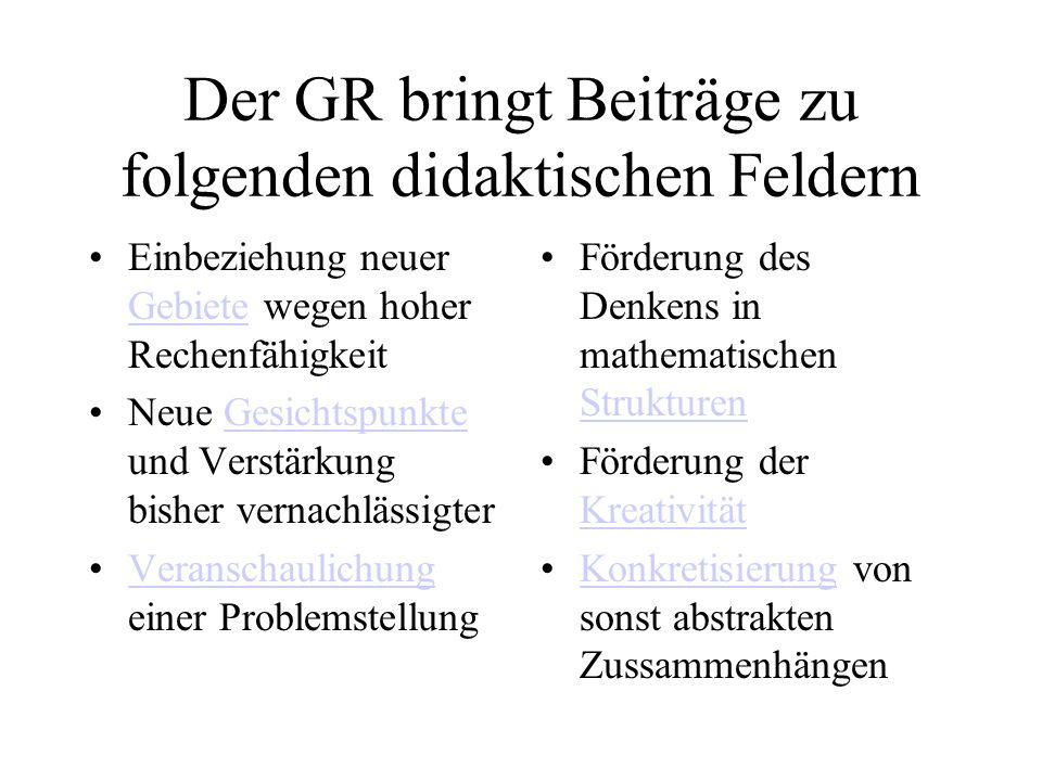 Der GR bringt Beiträge zu folgenden didaktischen Feldern