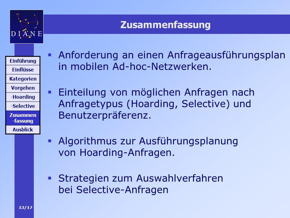 Algorithmus zur Ausführungsplanung von Hoarding-Anfragen.