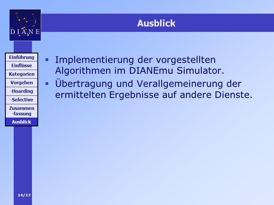 Implementierung der vorgestellten Algorithmen im DIANEmu Simulator.