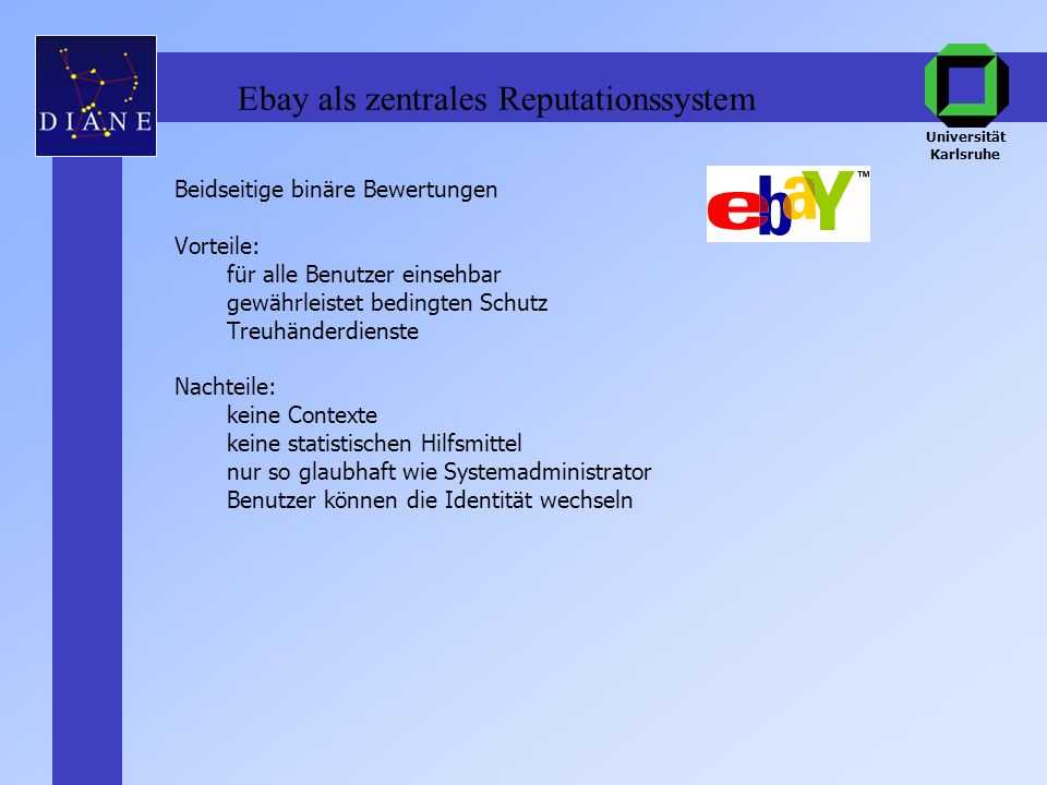 Ebay als zentrales Reputationssystem