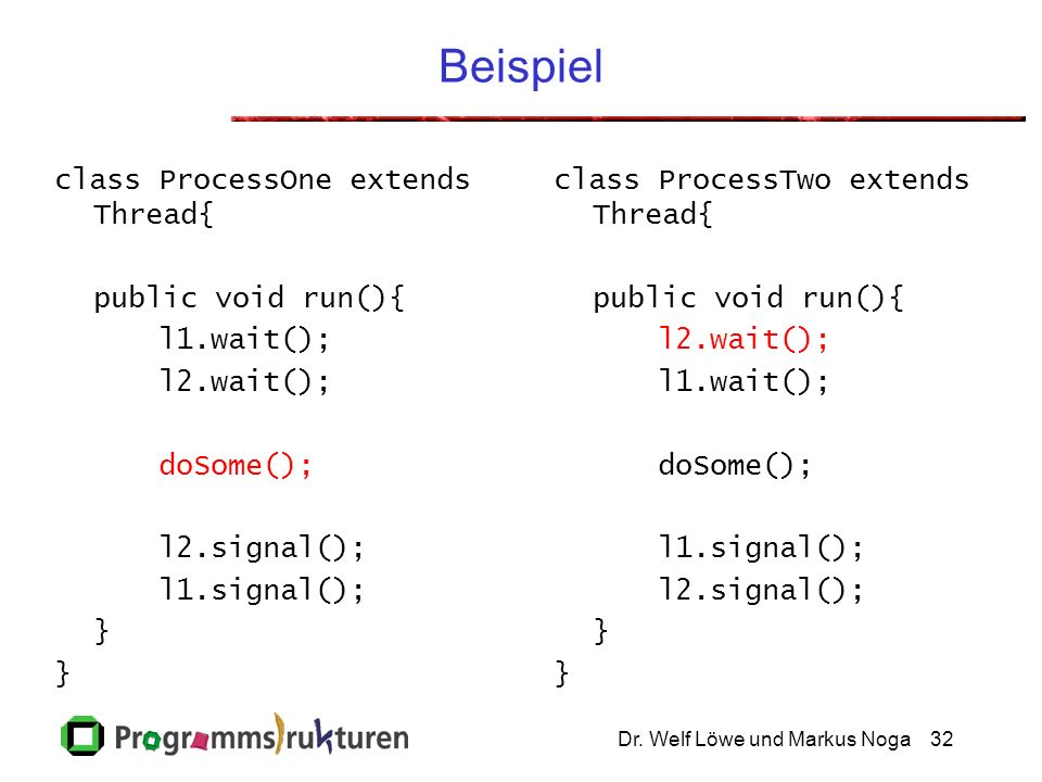 Beispiel class ProcessOne extends Thread{ public void run(){