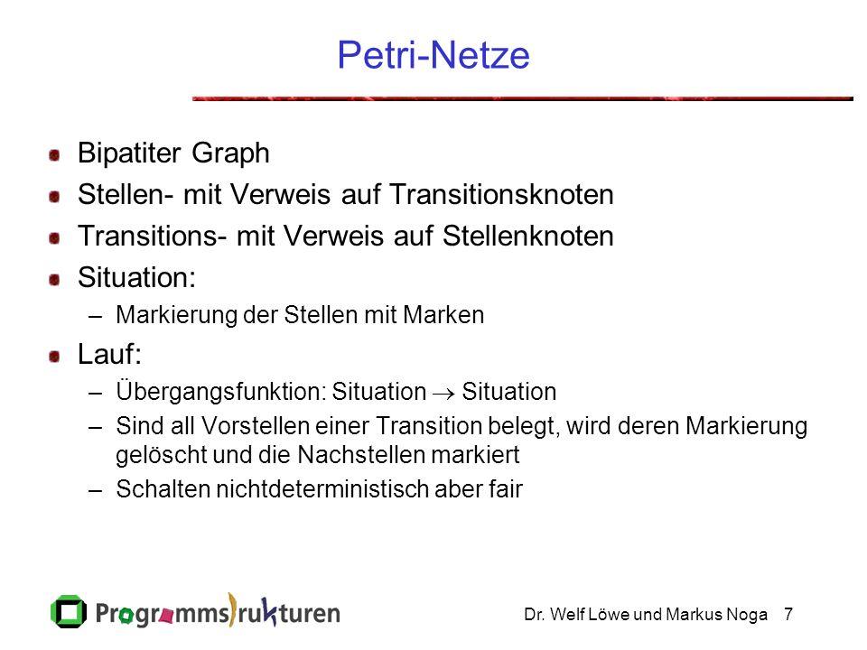 Petri-Netze Bipatiter Graph Stellen- mit Verweis auf Transitionsknoten