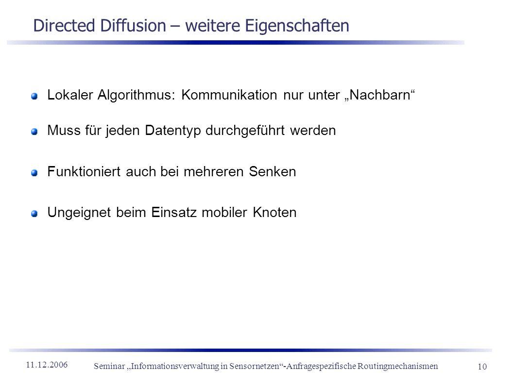 Directed Diffusion – weitere Eigenschaften
