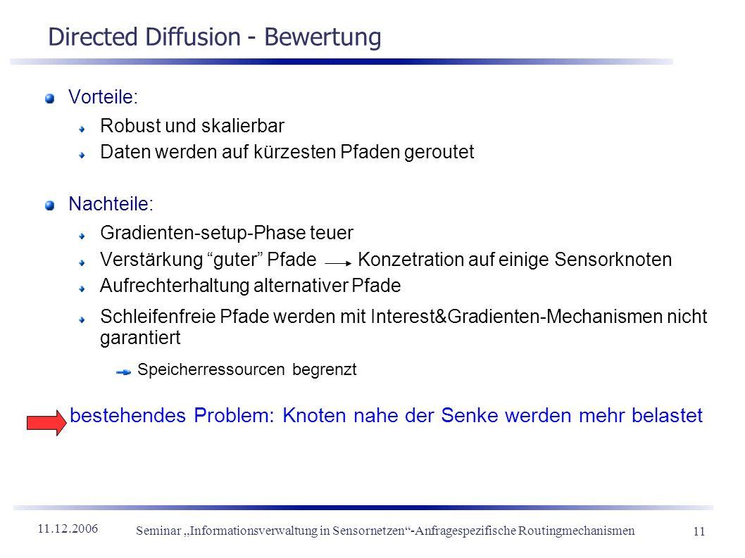Directed Diffusion - Bewertung