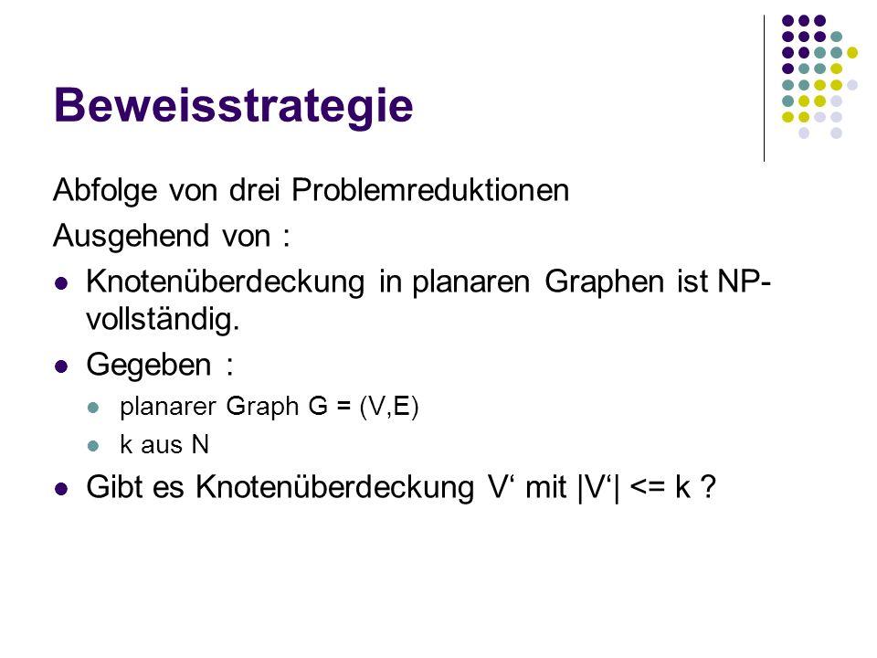 Beweisstrategie Abfolge von drei Problemreduktionen Ausgehend von :