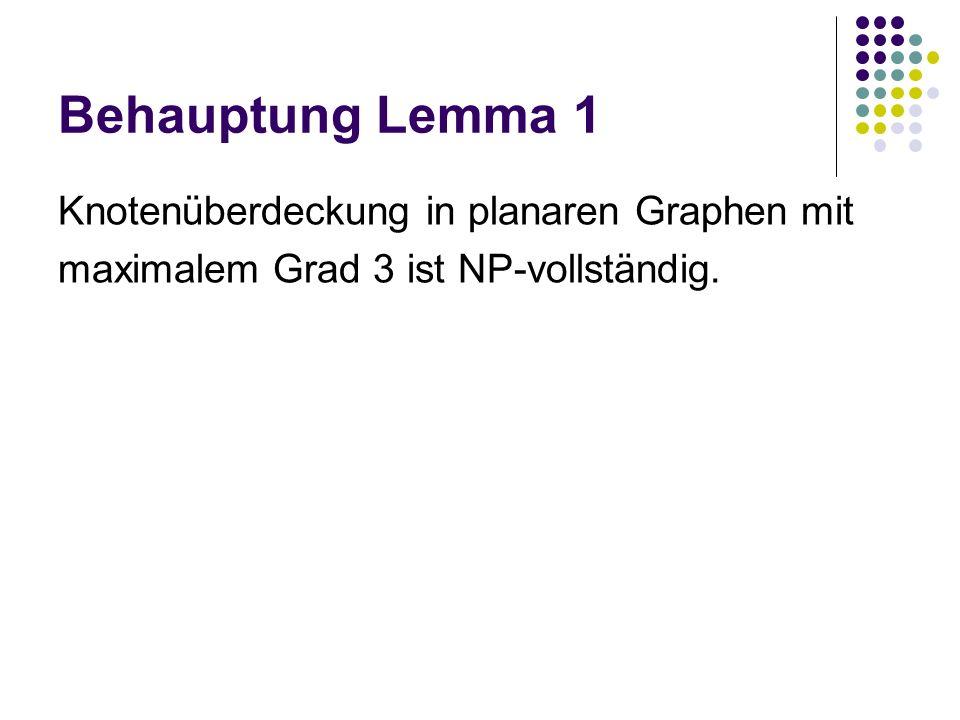 Behauptung Lemma 1 Knotenüberdeckung in planaren Graphen mit