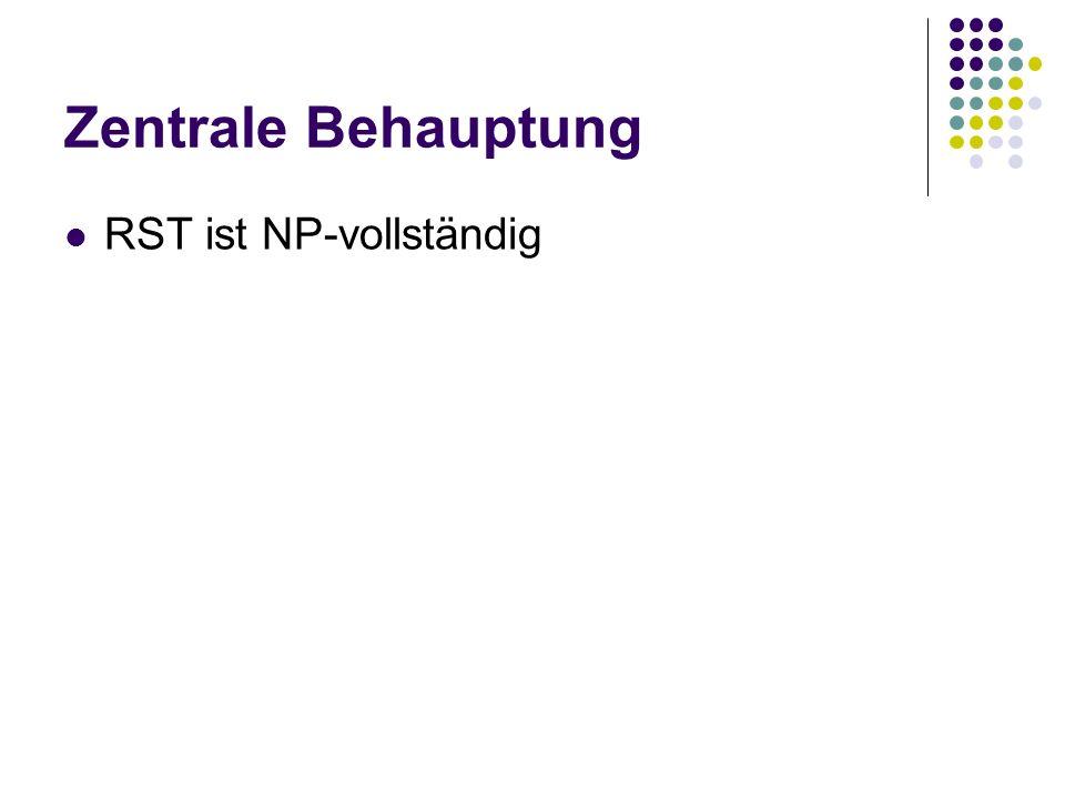 Zentrale Behauptung RST ist NP-vollständig