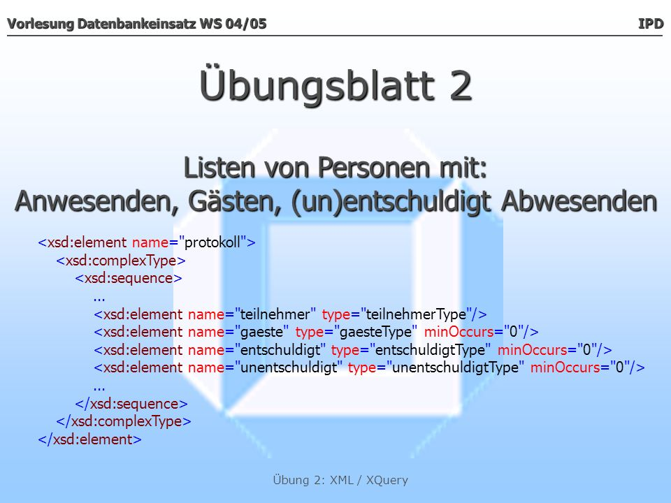 Übungsblatt 2 Listen von Personen mit:
