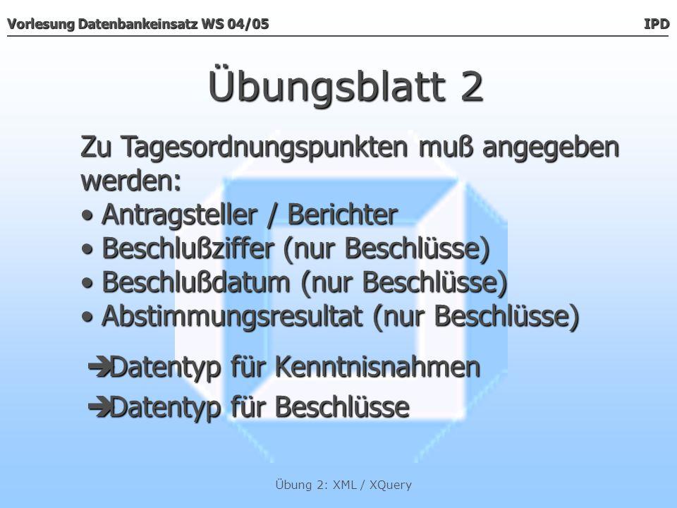 Übungsblatt 2 Zu Tagesordnungspunkten muß angegeben werden: