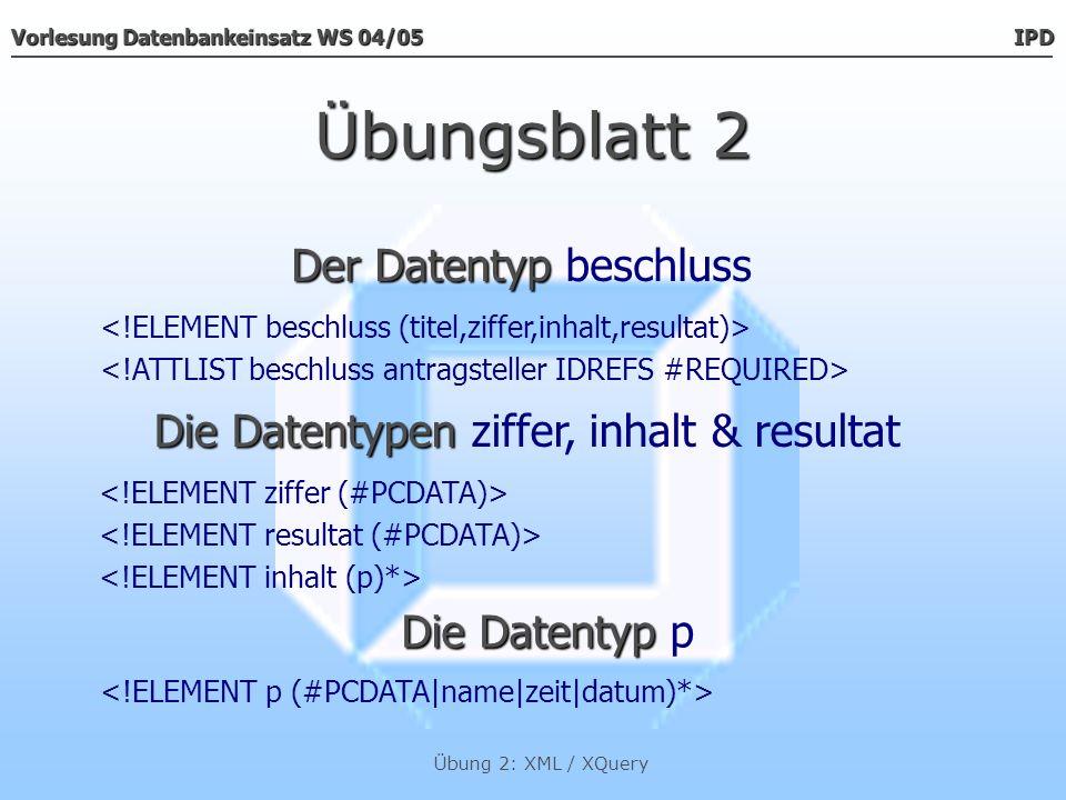Übungsblatt 2 Der Datentyp beschluss