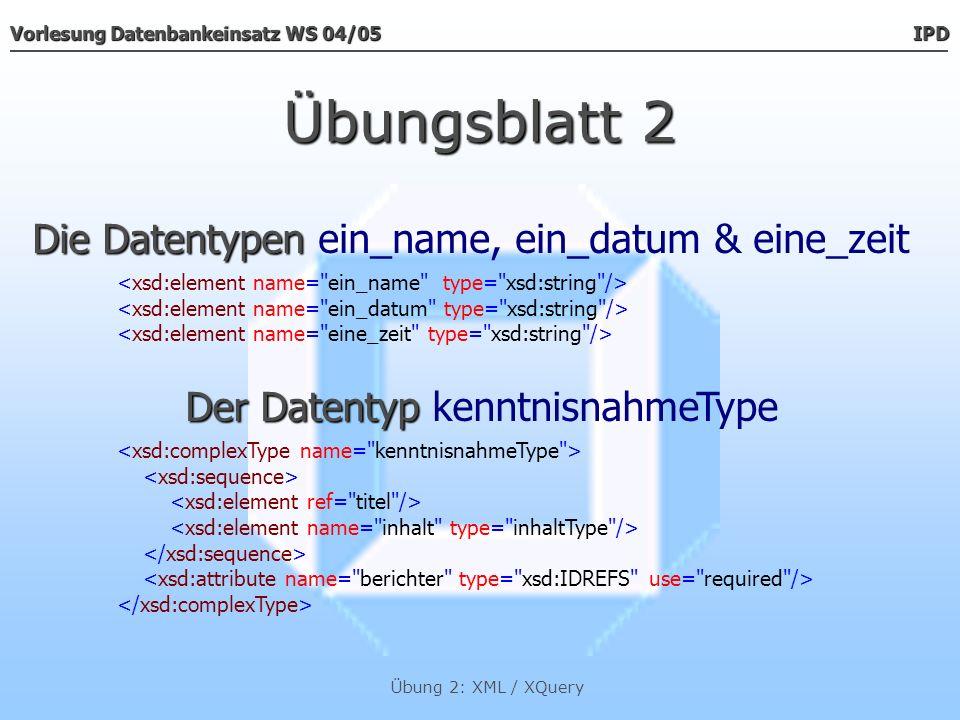 Übungsblatt 2 Die Datentypen ein_name, ein_datum & eine_zeit