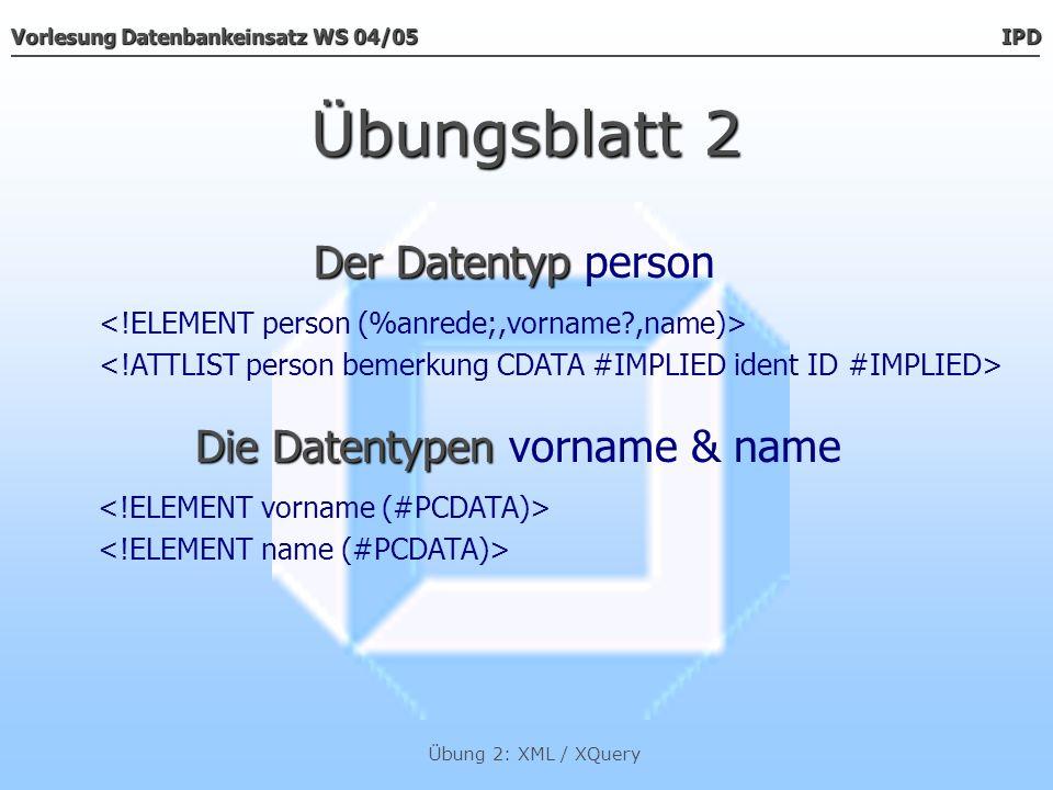 Die Datentypen vorname & name