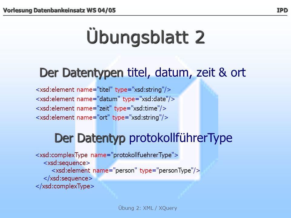 Übungsblatt 2 Der Datentypen titel, datum, zeit & ort