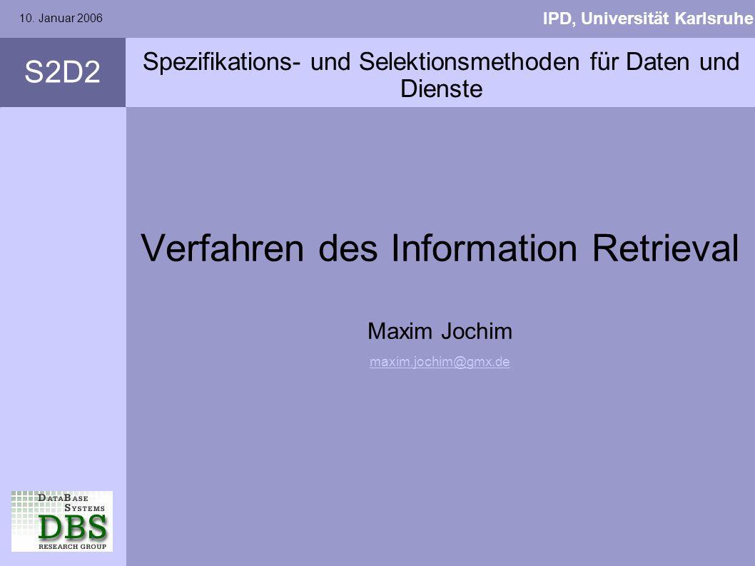 Spezifikations- und Selektionsmethoden für Daten und Dienste