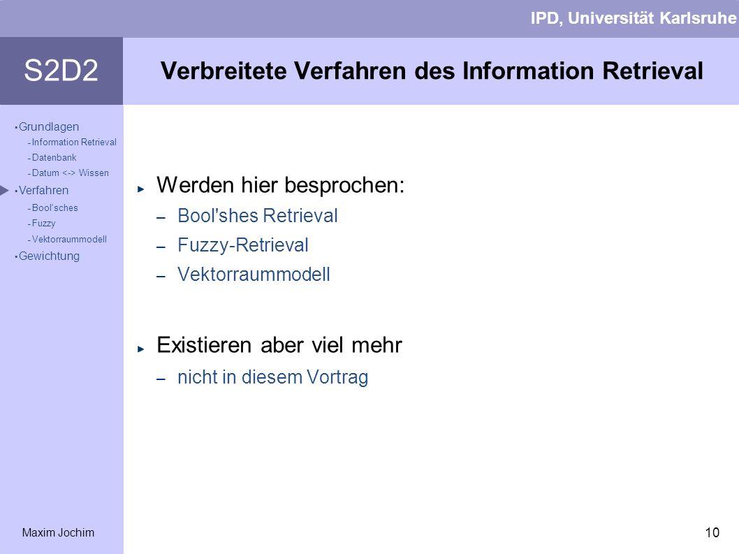 Verbreitete Verfahren des Information Retrieval