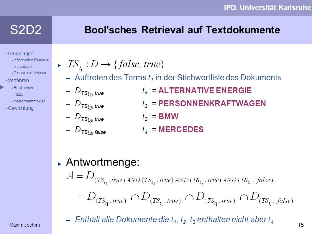 Bool sches Retrieval auf Textdokumente