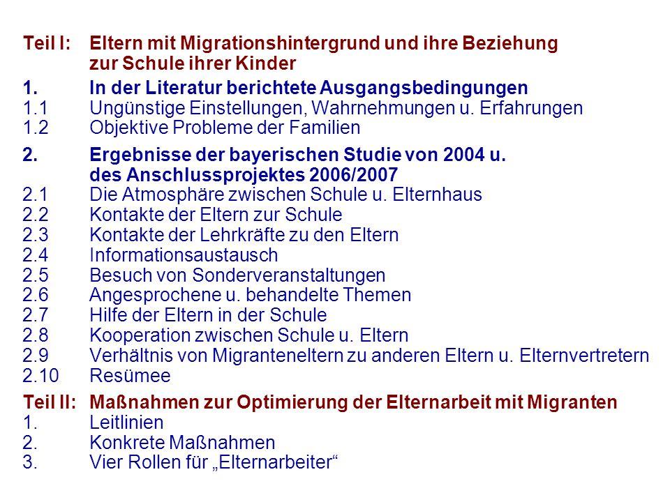 Teil I:. Eltern mit Migrationshintergrund und ihre Beziehung