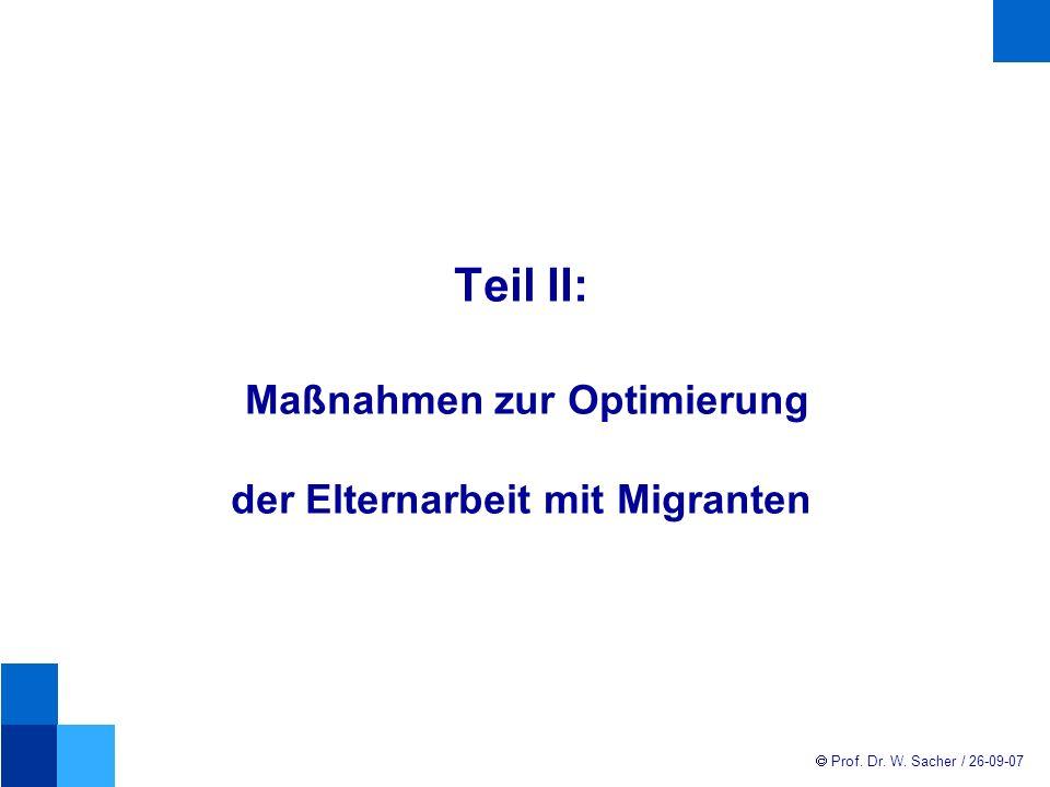 Teil II: Maßnahmen zur Optimierung der Elternarbeit mit Migranten