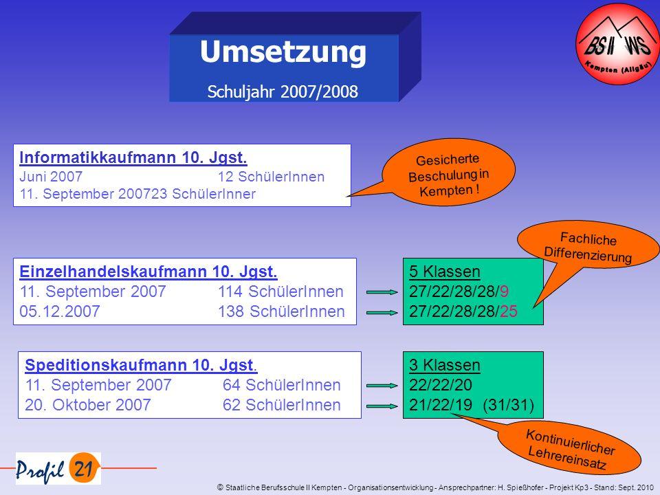 Umsetzung Schuljahr 2007/2008 Gesicherte Beschulung in Kempten !