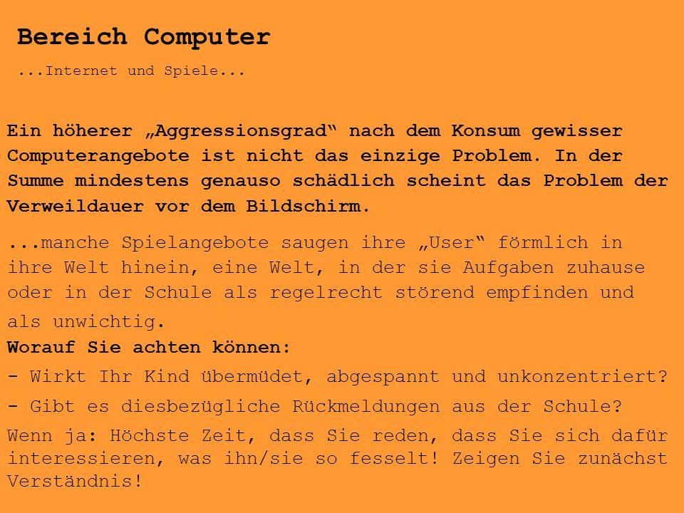 Bereich Computer ...Internet und Spiele...
