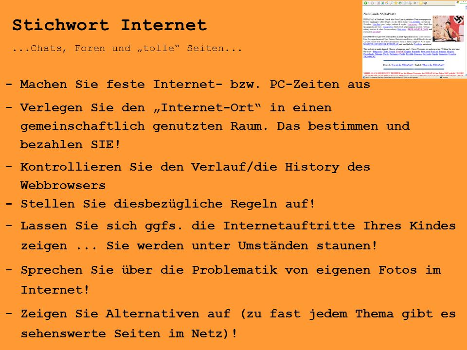 Stichwort Internet - Machen Sie feste Internet- bzw. PC-Zeiten aus