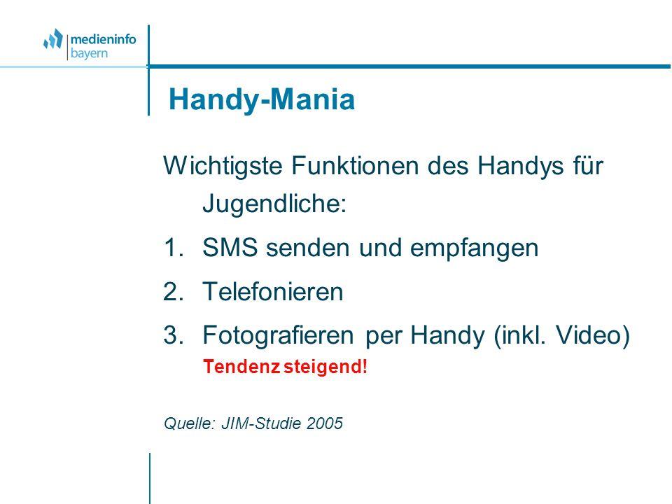 Handy-Mania Wichtigste Funktionen des Handys für Jugendliche: