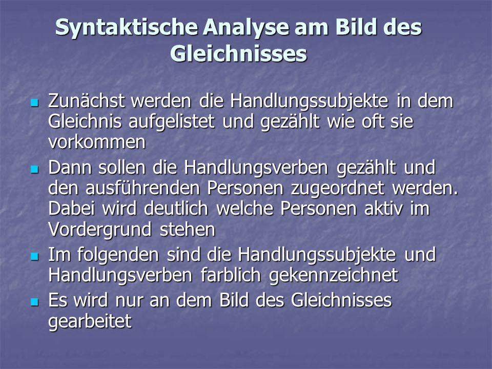Syntaktische Analyse am Bild des Gleichnisses