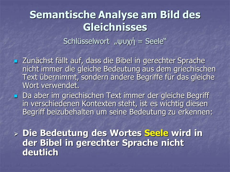 """Semantische Analyse am Bild des Gleichnisses Schlüsselwort """"ψυχή = Seele"""