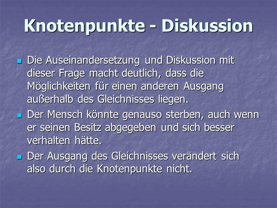 Knotenpunkte - Diskussion