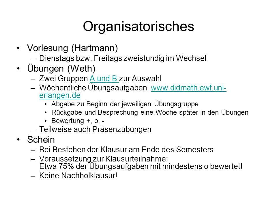 Organisatorisches Vorlesung (Hartmann) Übungen (Weth) Schein