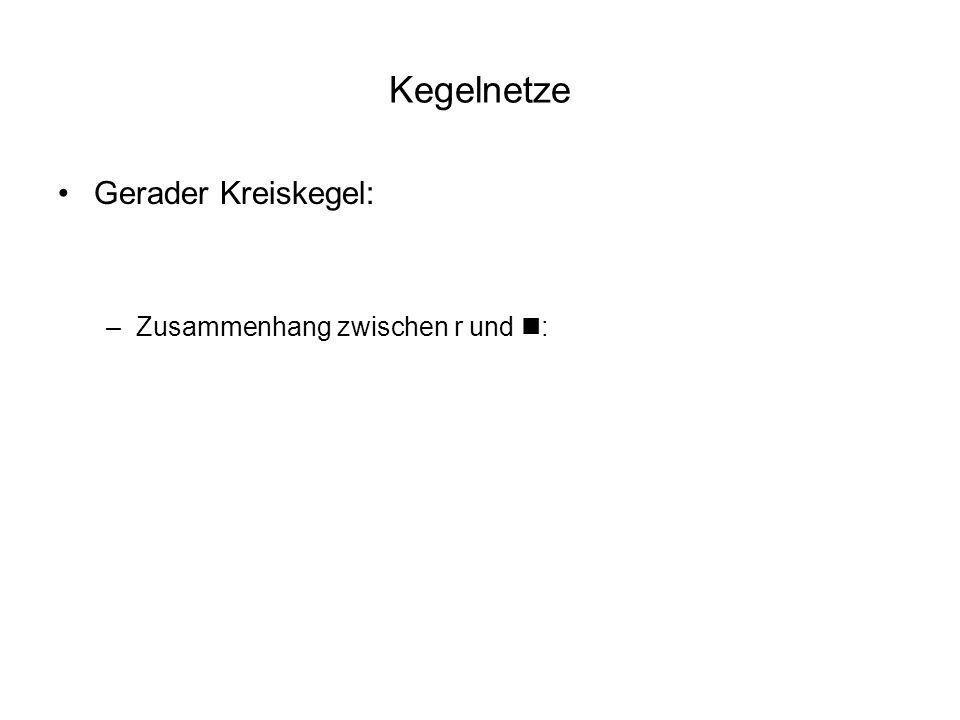 Kegelnetze Gerader Kreiskegel: Zusammenhang zwischen r und n:
