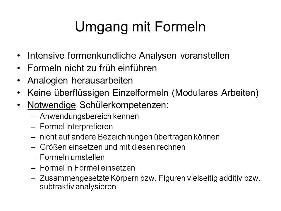 Umgang mit Formeln Intensive formenkundliche Analysen voranstellen
