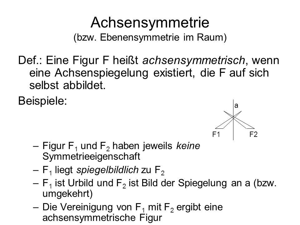 Achsensymmetrie (bzw. Ebenensymmetrie im Raum)