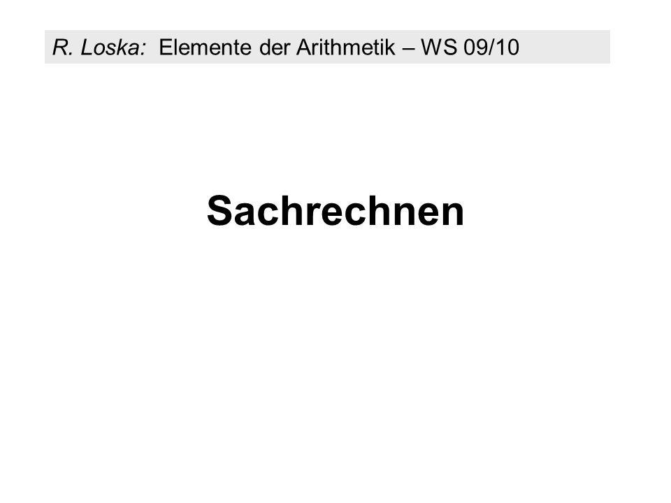 R. Loska: Elemente der Arithmetik – WS 09/10