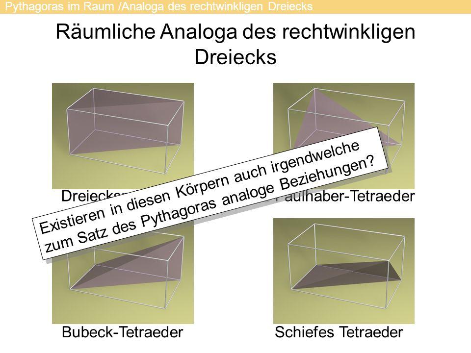 Räumliche Analoga des rechtwinkligen Dreiecks