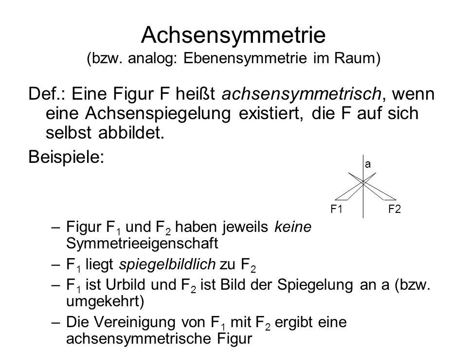 Achsensymmetrie (bzw. analog: Ebenensymmetrie im Raum)