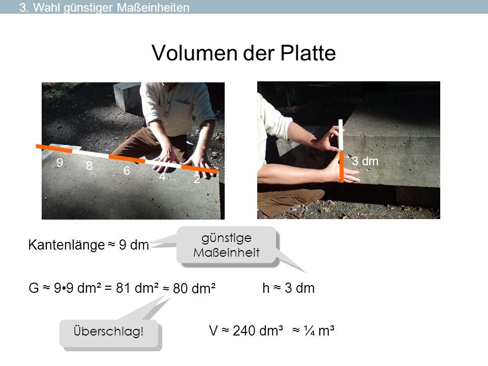 Volumen der Platte Kantenlänge ≈ 9 dm G ≈ 9•9 dm² = 81 dm² h ≈ 3 dm