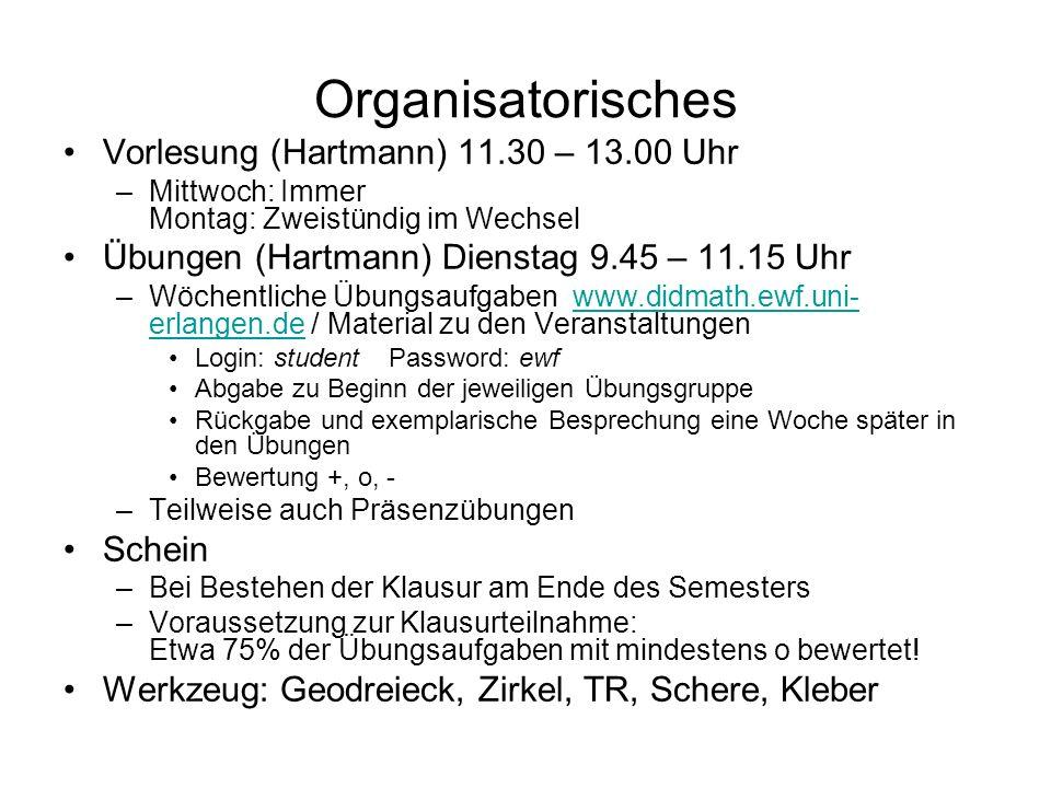Organisatorisches Vorlesung (Hartmann) 11.30 – 13.00 Uhr