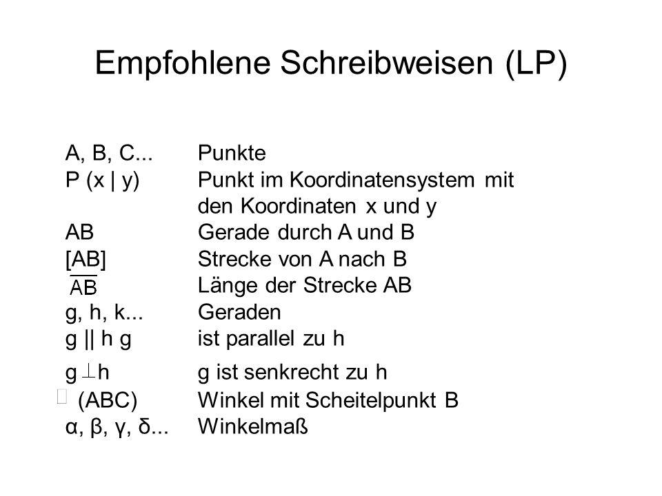 Empfohlene Schreibweisen (LP)