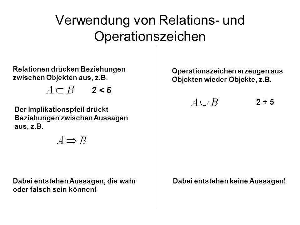 Verwendung von Relations- und Operationszeichen